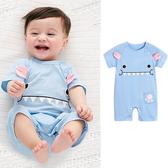 短袖連身衣包屁衣 嬰兒藍色小怪獸連身衣