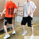 青少年短袖t恤男套裝休閒運動男裝學生夏季潮流帥氣一套衣服 韓慕精品