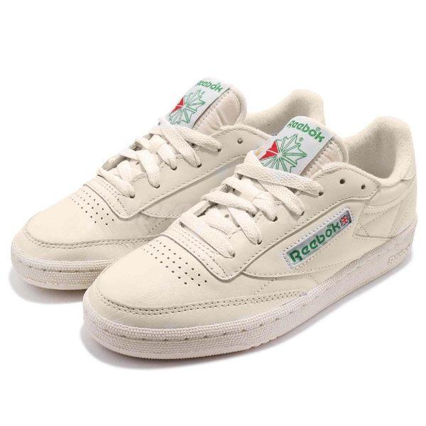 Reebok 休閒鞋 Club C 85 Vintage 米白 綠 基本款 復古設計 運動鞋 女鞋 【PUMP306】 BS8242