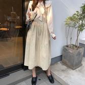 法式簡約氣質吊帶裙韓版秋季新款V領顯瘦打底連身裙