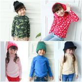 男童 女童 居家服 長袖 高領 細刷毛 印花 素面 上衣 Augelute 50817