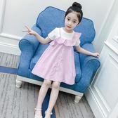 背帶裙 女童連身裙夏裝兒童純棉公主裙時尚潮衣洋氣短袖背帶裙子【全館九折】
