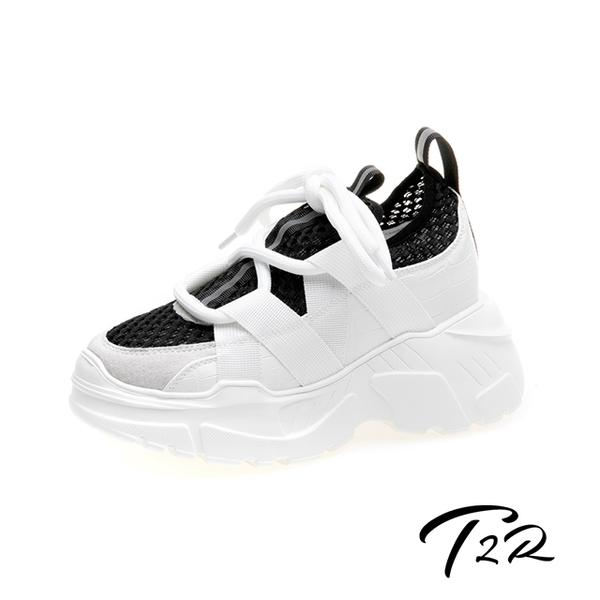 【T2R】-正韓空運-增高鞋透氣網布隱形內增高厚底老爹鞋-增高10公分-黑(5985-1950)
