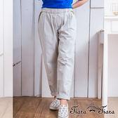 【Tiara Tiara】激安 純棉異色口袋鬆緊腰長褲(淺灰)