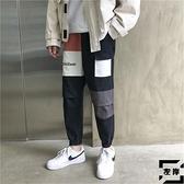 工裝褲拼色褲子男韓版束腳休閒褲夏季寬鬆九分褲【左岸男裝】