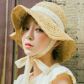 草帽 綁帶蕾絲草帽防風沙灘太陽帽唯美拍照鏤空帽子文藝 巴黎春天