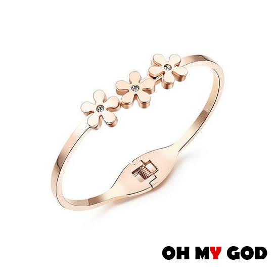 OH MY GOD甜美金菊鈦鋼手環