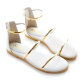 amai《12星座 – Libra天秤座》後拉式三環金屬涼鞋 白