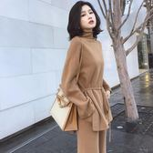 兩件套洋裝2018秋冬裝韓版新款時尚羊毛顯瘦高領針織衫闊腿褲毛衣兩件套裝女-大小姐韓風館