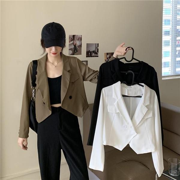 短款外套 秋冬百搭設計感女士短款小西裝外套2021春秋季新款休閒工裝上衣女 韓國時尚週 免運