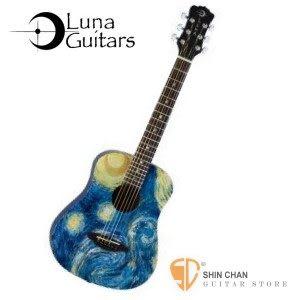 【缺貨】美國品牌Luna Mini 36吋小吉他 SAFARI STARRY(雲杉木面板)SAF STR 梵谷-星夜 附贈原廠Baby吉他袋