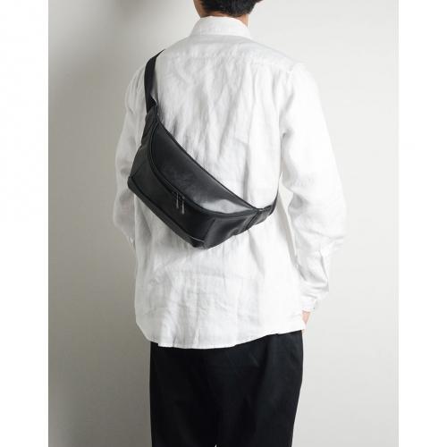 MSPC(master-piece) STREAM-F No.55528-F-BLACK [超強防潑水牛皮拼接斜肩包-黑色]
