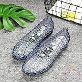 涼鞋女平底沙灘洞洞鞋防滑水晶涼鞋【少女顏究院】