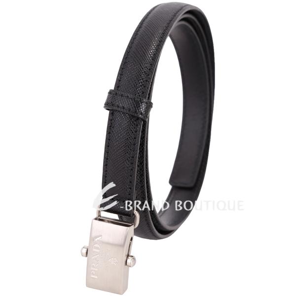 PRADA Saffiano 銀色方型扣頭防刮牛皮窄版腰帶(黑色) 1720237-01