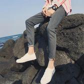 夏季薄款彈力破洞九分牛仔褲男士修身小腳9分黑色韓版潮流 KB1429【野之旅】