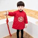 大紅中國風側邊中國結 老鷹長袍 棉襖 拜年服 旗袍裝 童裝 過年 大紅 唐裝 新衣 男童 新年