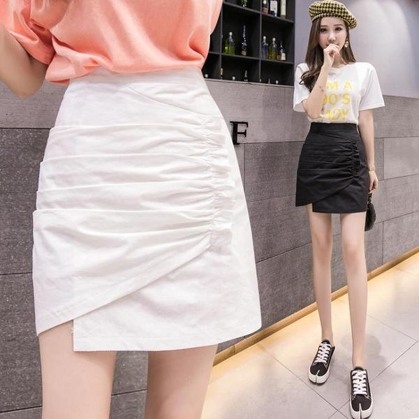 白色半身裙女夏季新款時尚設計感高腰顯瘦褶皺短裙不規則包裙「艾瑞斯居家生活」
