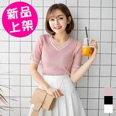 【361】 夏季薄款短袖v領針織上衣 (3色/M.L)