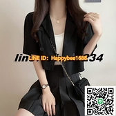 黑色薄款短袖西裝外套女韓版寬鬆高腰短款小西服上衣【happybee】