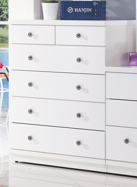 【森可家居】雪白五斗櫃 7JX19-6 衣物收納抽屜櫃 白色 北歐風