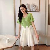 洋裝 韓系綁帶拼接假兩件短袖連身裙 花漾小姐【預購】