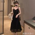 吊帶洋裝女2021春季新款V領收腰顯瘦氣質蕾絲網紗小黑無袖長裙 蘿莉新品