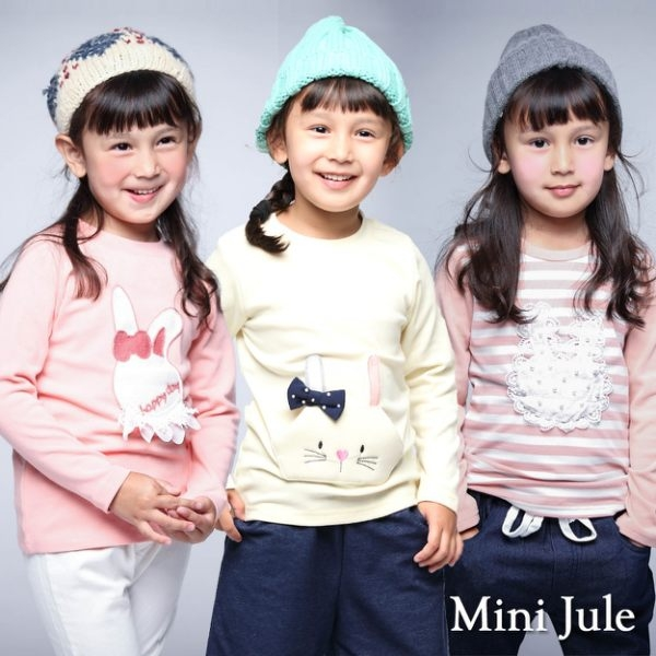 Mini Jule女童 上衣 立體兔子蕾絲字母/條紋蕾絲兔/蝴蝶結口袋兔長袖上衣(共3款)