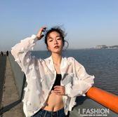 夏季新款女裝花朵立領百搭薄款透視寬鬆顯瘦學生長袖防曬衣外套女·Ifashion