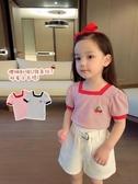 女童T恤 女童裝夏季刺繡小櫻桃U領條紋短袖T恤女寬鬆休閒衣服【快速出貨】