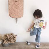2018夏裝新款兒童闊腿牛仔褲正韓女童棉質寬鬆毛邊破洞褲禮物限時八九折
