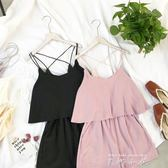 2018夏季韓版百搭純色吊帶連體褲寬鬆顯瘦雪紡短褲洋裝褲潮   米娜小鋪