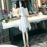 女裝夏裝鏤空蕾絲連身裙女夏季不規則溫柔仙女裙收腰裙子洋裝