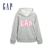 Gap女童 Logo棉質舒適連帽上衣 567746-淺麻灰色