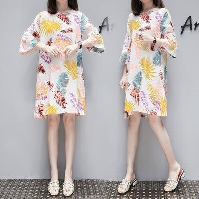 特賣款不退換短袖孕婦洋裝XL-5XL中大尺碼30257拼接短袖連身裙綢印花中長裙加大碼寬松大擺沙灘裙