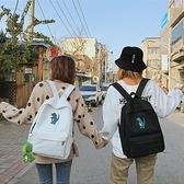 帆布後背包-恐龍刺繡純色女雙肩包2色73wy14[時尚巴黎]