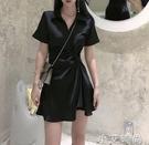 赫本風洋裝2021新款夏季名媛輕熟風小個子短款小黑裙氣質女神范 小艾新品