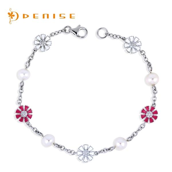 925純銀天然珍珠「小雛菊」手鍊 / 銀飾珠寶 / 時尚禮物