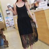【免運】夏新款吊帶連身裙莫代爾長裙蕾絲拼接背心裙韓版無袖修身打底裙