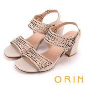 ORIN 夏日異國時尚 幾何簍空牛皮粗高跟涼鞋-粉膚