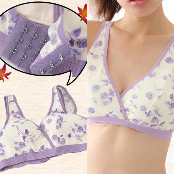 *孕味十足。孕婦裝*【FK1214】台灣製。玫瑰/素面/花朵/格紋 無鋼圈寬背釦孕婦哺乳內衣