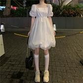 洋裝 2021新款法式超仙森系裙子收腰顯瘦泡泡袖洋裝女夏季白色蓬蓬裙-年終穿搭new Year