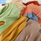 【V9212】shiny藍格子-簡單樸實‧純色半高領修身長袖針織衫