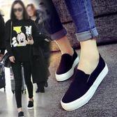 秋季百搭小白帆布女鞋一腳蹬學生韓版秋冬季休閒懶人布鞋 街頭布衣