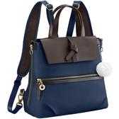 Kanana卡娜娜 多功能尼龍拼接皮革小型手提後背兩用包(深藍色)241019-03