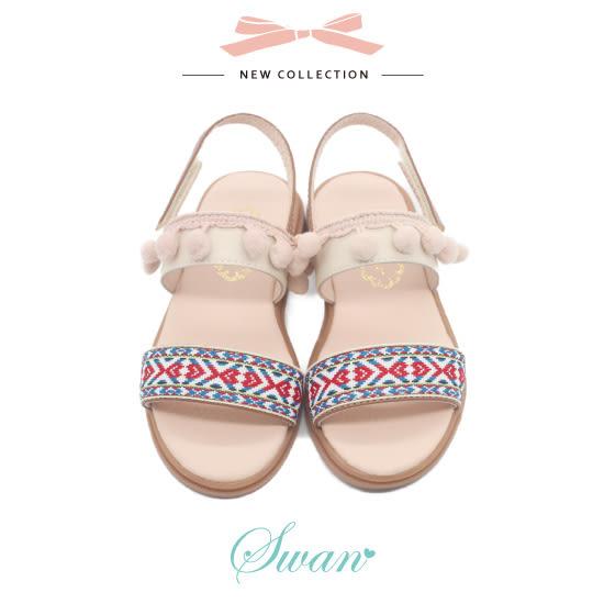 Swan天鵝童鞋-女童波希米亞風涼鞋3902-米