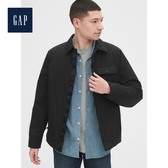 Gap男裝簡約純色按扣開襟翻領外套528306-純正黑色