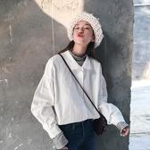 襯衫 設計感小眾上衣女2019初秋新款韓版寬鬆學生百搭polo領白色襯衫【快速出貨】