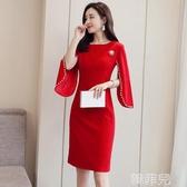 媽媽禮服 春裝復古洋氣年會禮服裙小眾連衣裙紅色回門服敬酒服新娘小禮服女 韓菲兒