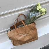 大包包2020新款韓國側背斜背包女ins大容量復古牛皮紙手提袋紙皮大包包 衣間迷你屋