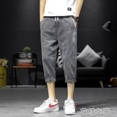 牛仔短褲男潮七分褲韓版潮流夏季薄款寬鬆休閒運動青少年7分中褲 快速出貨